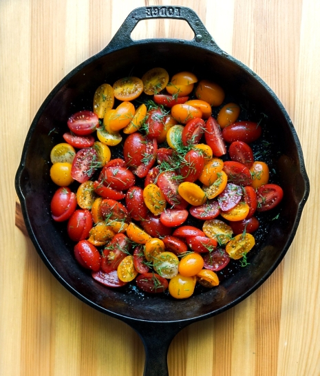 Roasted Tomatoes, Dill + Pepper